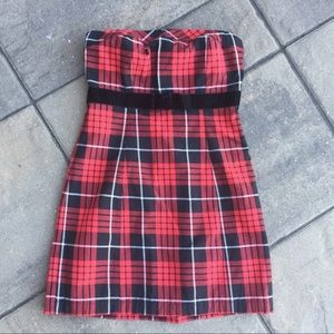 Forever 21 Strapless Plaid Dress with Bow S